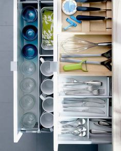 Three cheers again for the adjustable, larger flatware storage and lift out utensil storage.  Would like to see thin silicone, rubber or other non-slip padding on bottom of glassware/dishes storage.