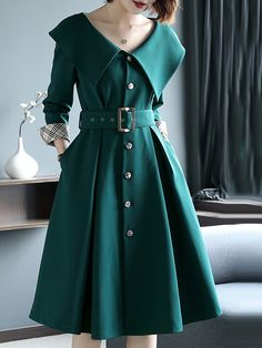 Elegant Solid Color Slim Doll Collar Buttoned Dress - Outfit of the day Elegant Dresses For Women, Dresses For Teens, Cute Dresses, Vintage Dresses, Casual Dresses, Fashion Dresses, Dresses For Work, Sexy Dresses, Summer Dresses