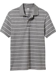 Men's Striped Pique Polos