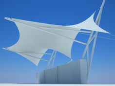 Textile Architecture Grupo Moca by Carlomar Montes Márquez at Coroflot.com Fabric Structure, Shade Structure, Roof Architecture, Concept Architecture, Technical Textiles, Shading Device, Membrane Structure, Outdoor Awnings, Tensile Structures
