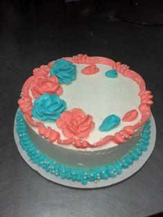 Teal coral cake