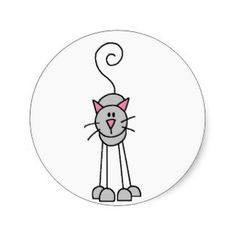 stick figure animals | Cats Stick Figures Sticker