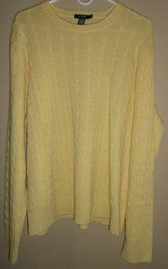 $39.95 Men's J Crew Cashmere Blend Yellow Cable Knit Long Sleeve Sweater Size: XL
