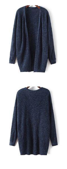 SheIn offers Navy Long Sleeve Loose Knit Cardigan & more to fit your  fashionable needs.