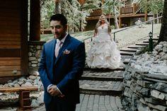 Elise & Kyle - Buffalo Mountain Lodge Wedding in Banff Wedding People, Wedding Couples, Mori Lee Bridesmaid, Theatre Wedding, Wedding First Look, Flower Company, Going To Rain, People Running, Lodge Wedding