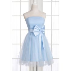 A-Line Strapless Bowknot Short Prom Dresses Homecoming Dress