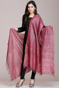 Fuchsia Pink And Purple Hand Block Print Tussar Silk Dupatta
