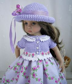 """Outfit-for-Dianna-Effner-Little-Darling-13""""Doll-by-Ulla-Lilac-Roses"""