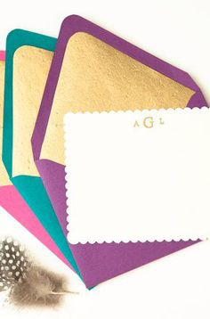 Personalized Stationery Set 6 Jewel Tone Gold