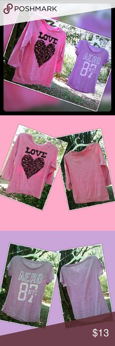 """Aeropostale and Jerry Leigh Apparel Shirts-Juniors Both of these shirt are used but in great shape. The Aeropostale shirt shows a little more signs of wear but still in good shape!  Jerry Leigh Apparel Sweater Shirt is a beautiful bright pink with the word """"LOVE"""" in sparkle black letters it also features a heart made up of other words...so cute!  Size: L  Aeropostale shirt features the word """"Aero"""" with the numbers '87 with """"NYC"""" in the middle of the 7.  Size: XL   These shirts are different…"""