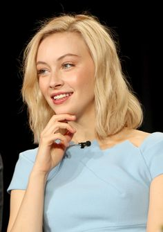Actress Sarah Gadon speaks onstage during the Hulu 2016 Winter TCA Press Tour '11.22.63' panel at The Langham Huntington Hotel and Spa on January 9, 2016 in Pasadena, California.