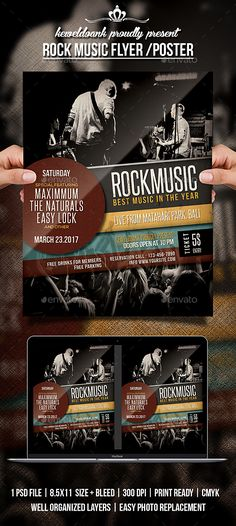 Buy Rock Music Flyer / Poster by keweldoank on GraphicRiver. Rock Music flyer templates or poster template designed to promote any kind of music event, concert, festival, party o. Portfolio Booklet, Music Flyer, Event Flyer Templates, Kinds Of Music, Rock Music, Flyer Design, Festival Party, Typography, Gig Poster