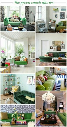 Always looking for ideas for our giant green couch! the green couch diaries // green sofa inspiration Living Room Green, Green Rooms, New Living Room, Home And Living, Living Room Decor, Green Sofa Inspiration, Room Inspiration, Design Inspiration, Living Tv