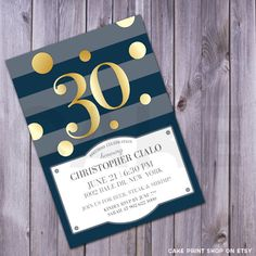 30th Birthday Invite, Printable 30th birthday, 40th, 50th, milestone birthday invite, printable birthday invitation, Men's birthday invite by CakePrintShop on Etsy https://www.etsy.com/listing/182501228/30th-birthday-invite-printable-30th