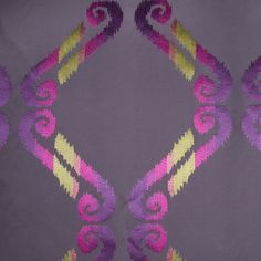 Stone/Fuchsia/Citron/Purple Swirls Embr & Eyelet This is a polyester blend with an embroidered swirl design. Great for drapery and upholstery. Pink Damask, Swirl Design, Mood Fabrics, Purple Fabric, Jacquard Fabric, Cushion Fabric, Home Decor Fabric, Canvas Fabric, Swirls