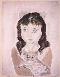 Little Girl with Cat by Tsuguharu Foujita