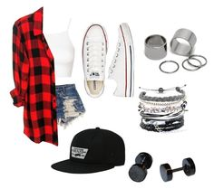 """""""Untitled #76"""" by fandomlol-outfits ❤ liked on Polyvore featuring Vans, Converse, Topshop, Levi's, Rails, Pieces, Domo Beads, women's clothing, women and female"""