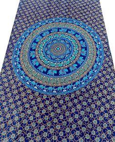 Cotton Fabric Blue Mandala Hippie Wall Hanging Bohemian Boho Wall Tapestry Throw Bedspread Home Decorative