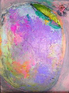 Abstract Spring Painting  pink lavender green by cherylwasilowart,  Sold  Commissions available