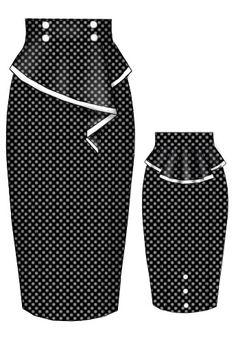Rockabilly Polka dot Peplum Skirt - Not liking the black; Vintage Dresses, Vintage Outfits, Vintage Fashion, Vintage Mode, Retro Vintage, Runway Fashion, Womens Fashion, Work Attire, African Dress
