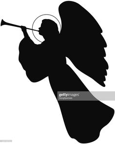 Stock Illustration : Angel with Trumpet Christmas Nativity Scene, Christmas Makes, Christmas Angels, Xmas, Christmas Stencils, Christmas Projects, Christmas Ideas, School Christmas Cards, Angel Silhouette