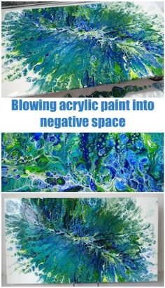 Acrylic painting video. Pouring and blowing acrylic paint with a straw. #artsandcraftsvideos,