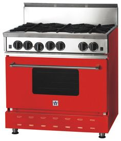 "The perfect gift for a teacher  has always been a red delicious apple, check out this 36"" BlueStar Range in Traffic Red"