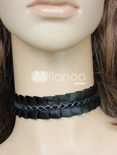 Black Polyester Pleated Lolita Neck Band
