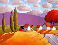 Art Print, Mountain Country Road, a Colorful Rural Landscape, Archival High Quality Giclee Artwork, Folk Wall Decor by Artist Horvath Original Paintings, Original Art, Art Paintings, Arte Country, Country Decor, Colorful Mountains, Art Populaire, Ouvrages D'art, Naive Art