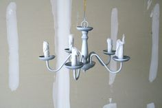 Chandelier Revamp and Fabric Cord Cover Tutorial