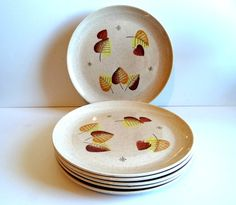 Vintage Metlox Vernon Ware Sherwood Autumn/Fall Dinnerware Plates by TimelessTreasuresbyM on Etsy