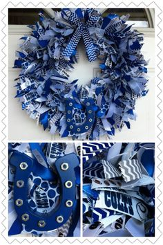 Indianapolis Colts Ribbon Wreath I made for a friend. Getting ready for football season!