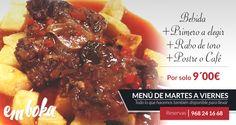 Hoy en nuestro Menú diario por tan solo 9€, como segundo, puedes disfrutar de un GUISO DE RABO DE TORO. ¿Apetece?  Reservas 968241668 ¡ estamos en La Flota !