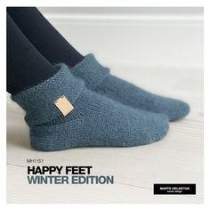Happy Feet - Winter edition - voksen - Dame - Oppskrifter og materialpakker - Design by Marte Helgetun Tromso, Knitting Designs, Knit Crochet, Socks, Hoodies, Winter, Happy, Fashion, Knitting Projects