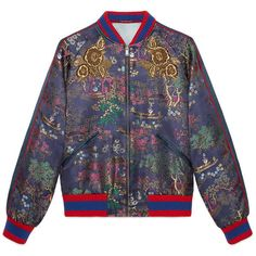 Gucci Japanese Donald Duck Jacquard Bomber Jacket (€3.280) ❤ liked on Polyvore featuring outerwear, jackets, men, ready to wear, sequin bomber jacket, red jacket, embroidered bomber jackets, summer jackets and gucci jacket