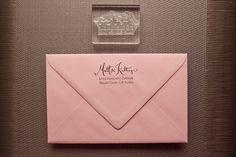 Invitation Return Address Stamp with Type- Acrylic. $50.00, via Etsy.