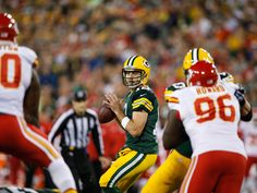 Packers vs Chiefs -   Aaron Rodgers dissected another defence on a national stage, building a big enough cushion for the Green Bay Packers to overcome a late rush by Jamaal Charles and the Kansas City Chiefs. Rodgers threw for 333 yards and five touchdowns, including three to Randall Cobb, and Green Bay beat Kansas City 38-28 in the NFL on Monday Night Football.