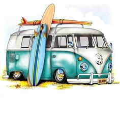 Need anything surf related? Volkswagen Bus, Vw T1, Vw Camper, Deco Surf, Combi Ww, Bus Art, Illustration, Car Drawings, Beach Art