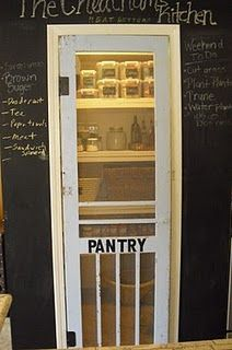 OMG I love this; its a chalk board wall and an old screen door on the pantry... I WANT A PANTRY NOW