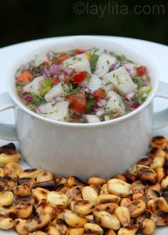 Ceviche: tilapia, bell peppers, tomatoes, onion, lime, cilantro and maybe add jalapenos