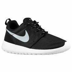 b0d2f5f17ffb Womens Nike Roshe One Shoe Black White Metallic Platinum Size