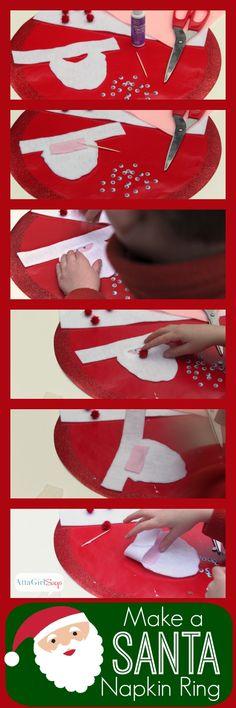 Easy Crafts for Kids: Felt Santa Napkin Rings