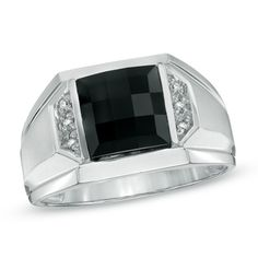 A unique and bold statement of style this mens ring is certain to suit his sophisticated taste. Fashioned in cool 14K white gold this ring features a dramatic 8.5mm squarecut faceted black onyx center stone flanked by rows of glittering diamond accents. The wide stepped shank and lustrous satin finish complete this style. Polished to a brilliant shine this ring is certain to become an everyday favorite.                                     View product details.                  #Fashion…