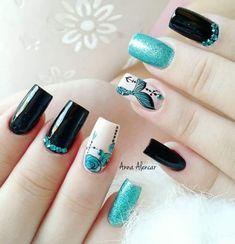 Wow Nails, Cute Nails, Pretty Nails, Fancy Nails Designs, Diy Nail Designs, Black And White Nail Art, Disney Nails, Manicure E Pedicure, Beautiful Nail Art