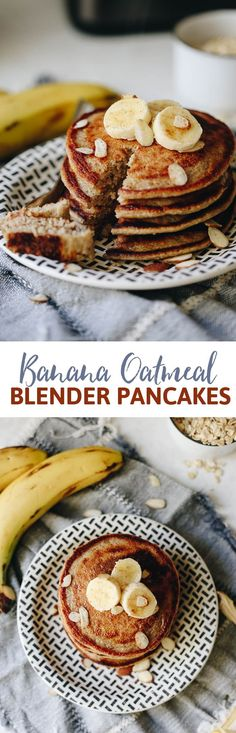 Weekend breakfasts just got so much easier with these Banana Oatmeal Blender Pancakes! Just throw all the ingredients into your blender and then cook on a skillet for delicious and healthy pancakes that taste just like banana bread! Breakfast For Kids, Best Breakfast, Healthy Breakfast Recipes, Brunch Recipes, Healthy Snacks, Breakfast Pancakes, Pancake Recipes, Healthy Recipes, Healthy Kids