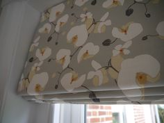 "Interlined roman blind hand made by Victoria Clark Interiors, using Emily Burningham fabric ""Orchid""."