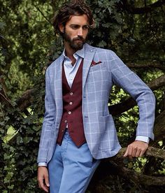 Grey windowpane blazer, maroon vest cardigan, blue shirt, light blue chinos pants, casual Friday