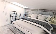 Sypialnię na poddaszu urządzono w całości w szarym kolorze. Największe wrażenie może sprawiać niska ściana za łóżkiem,...