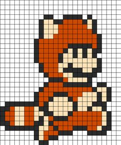 Marios Tanooki Suit Perler Bead Pattern | Bead Sprites | Characters Fuse Bead Patterns