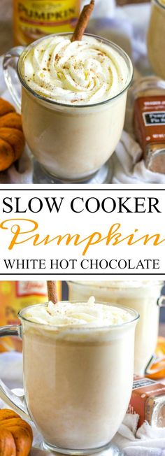 Creamy and delicious pumpkin spiked hot chocolate is slow cooked with white chocolate. This is the perfect treat now that the weather is getting cooler! This would also be awesome for Thanksgiving.